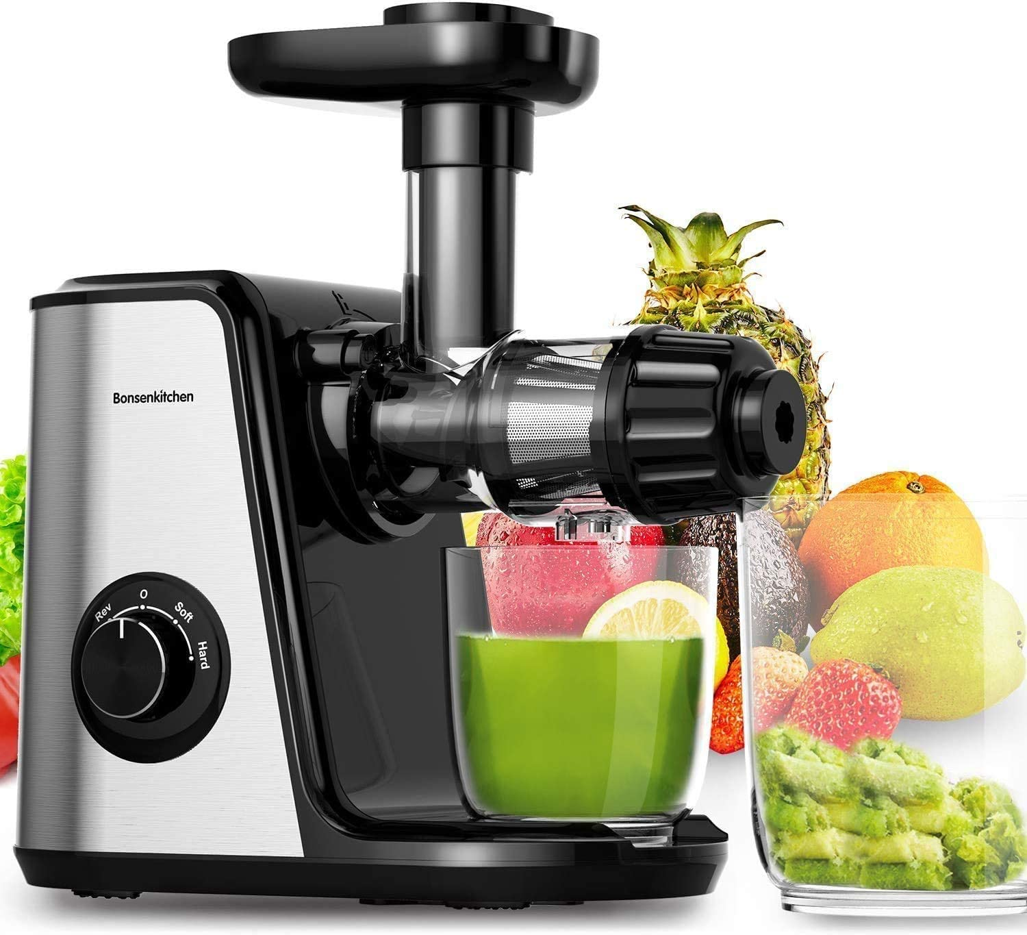 Masticating Juicer Machines, Bonsenkitchen Cold Press Juicer for Fruit & Vegetable, Easy to Clean, BPA Free, Quiet Motor & Reverse Function, High Nutrition Reserve, Juice Extractor for Celery, Kale, Carrot