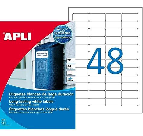 APLI 1228 - Etiquetas blancas resistentes intemperie 210,0 x 297,0 mm 20 hojas, color Blanco: Amazon.es: Oficina y papelería