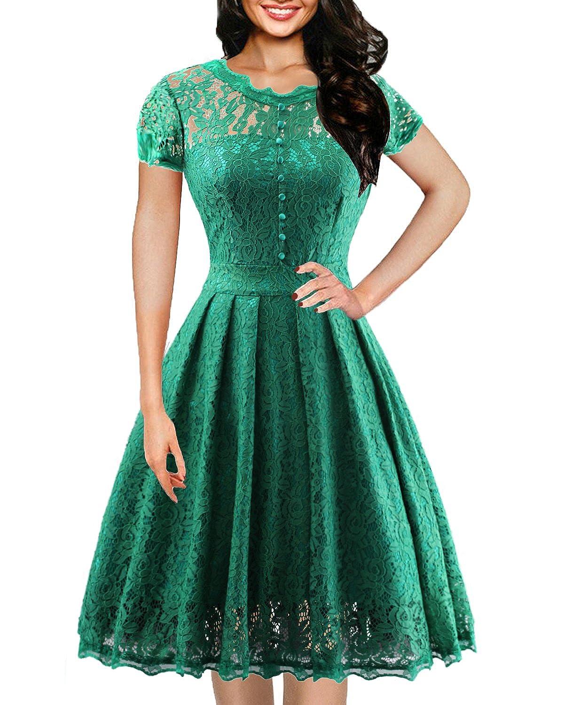 TALLA M. ihot Vestido de Dama de Honor Elegante de Manga Larga de Encaje Floral de la Vendimia de Las Mujeres Verde