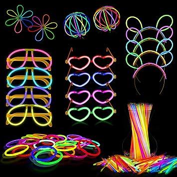 Dsaren Pack de 100 Pulseras Luminosas Barras Fluorescentes con Conectores para Pulseras, Collares, Gafas, Diadema, Flores y Bola: Amazon.es: Juguetes y juegos