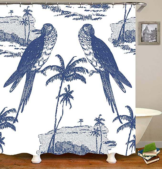 Birds Parrot Lover Polyester Fabric Shower Curtain Set With Hooks 71Inches Long