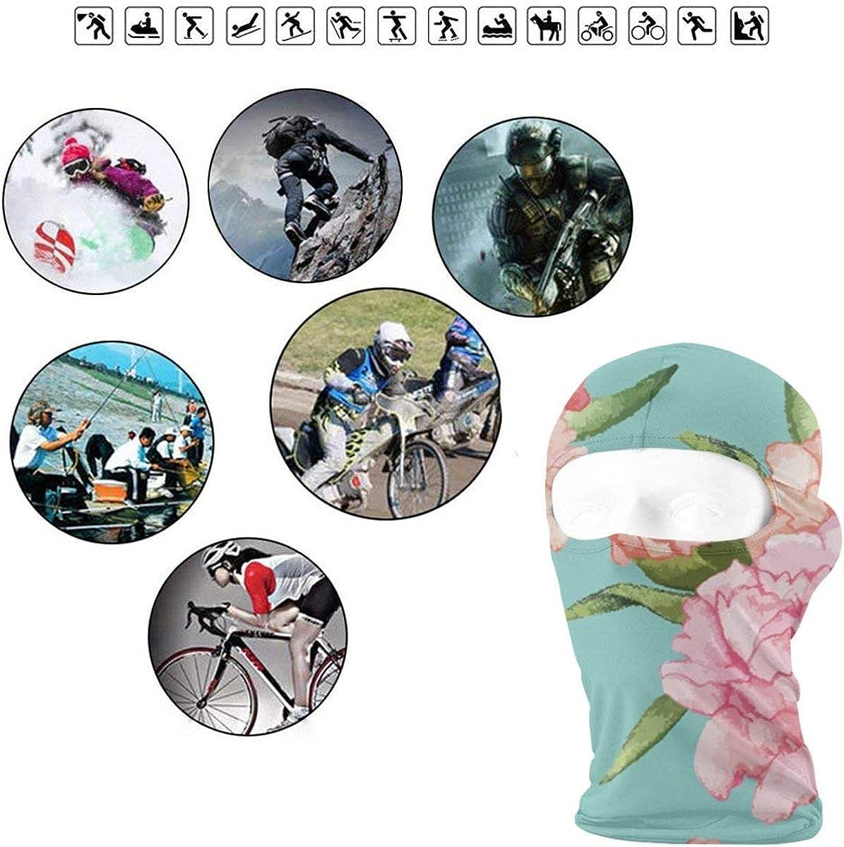 CAClifestyle Hand Drawn Carnation Flower Pattern Unisex Windproof Balaclavas Full Face Mask Hood