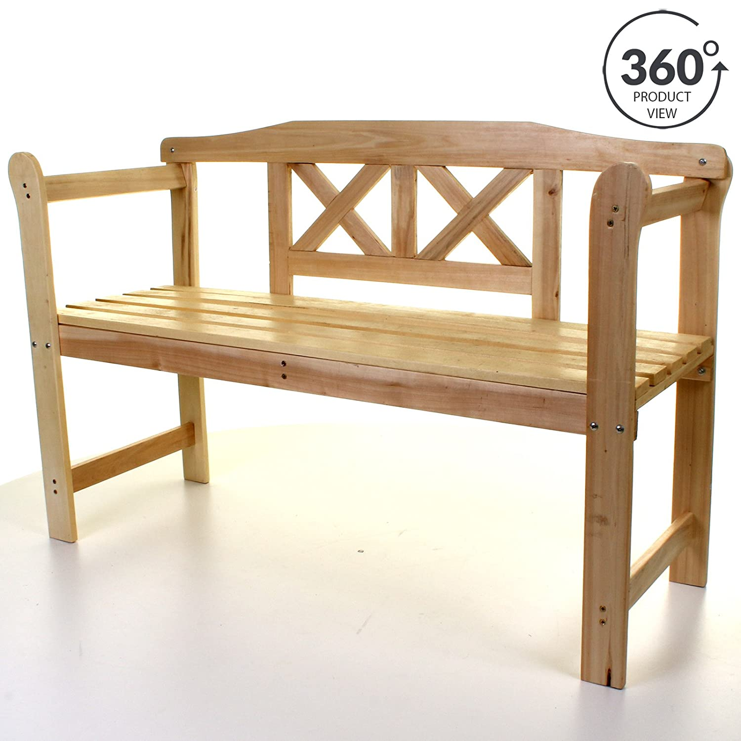 Marko Outdoor Garden Wooden Bench Seat 3 Seater Patio Seating Large with Armrests