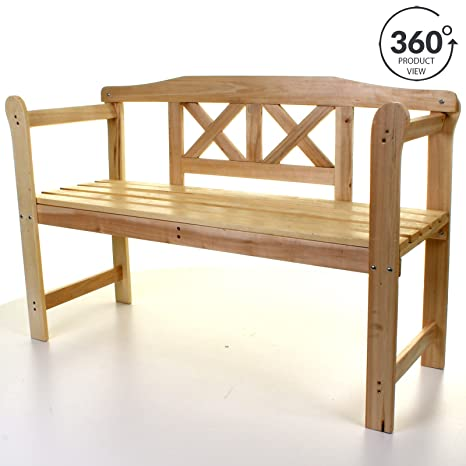 Enjoyable Marko Outdoor Garden Wooden Bench Seat 3 Seater Patio Seating Large With Armrests Ocoug Best Dining Table And Chair Ideas Images Ocougorg