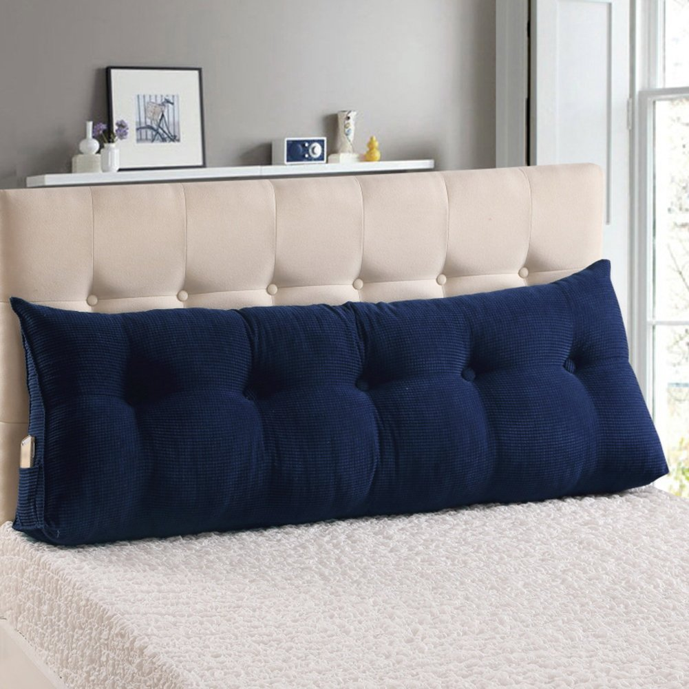 WOWMAX PP-Cotton Filled Triangular Wedge Pillow Positioning Support Reading Backrest Cushion Sofa Bed Day Bed Upholstered Headboard Removable Washable Cover Deep Blue Queen