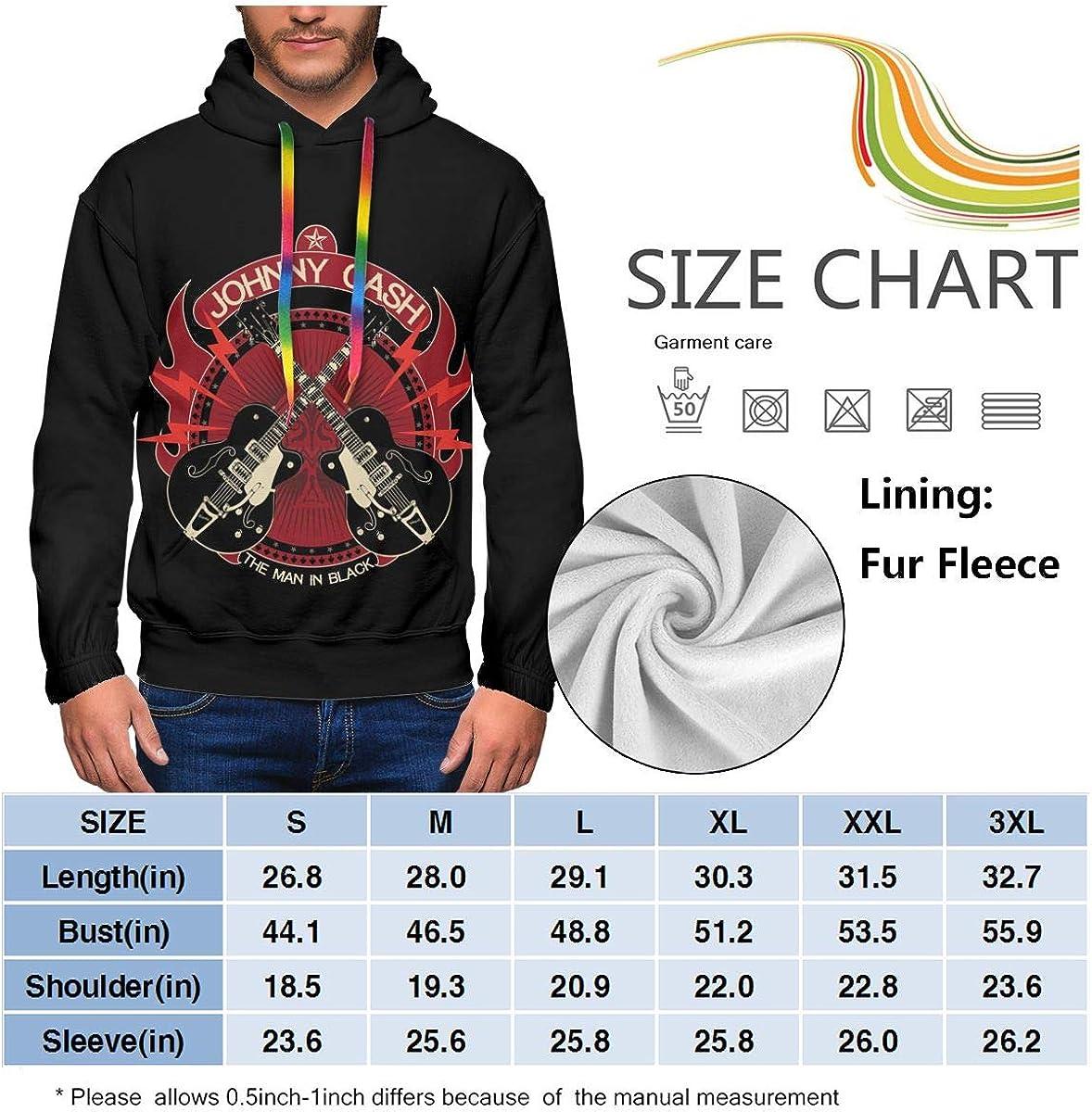 ElizabethBBussey Johnny Cash Sweatshirt Men Plus Velvet Padded Print Fashion Hooded Sweatshirt