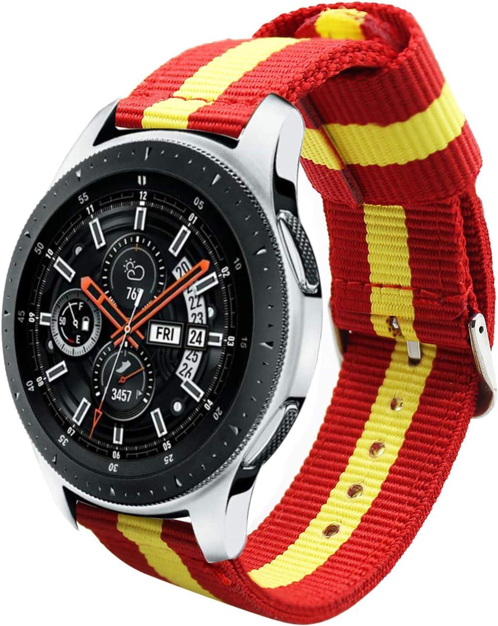 Estuyoya - Pulsera de Nailon Compatible con Samsung Gear S3 Frontier /Classic/Galaxy Watch 46mm Colores Bandera de España 22mm Ajustable Transpirable Deportiva Casual Elegante: Amazon.es: Electrónica