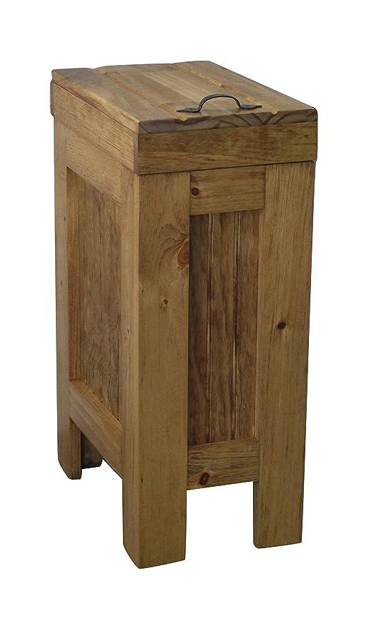 BuffaloWood Shop Wood Trash Bin Kitchen Trash Can Wood Trash Can Cabinet  Dog Food Storage Container 13 Gallon Recycle Bin Golden Oak Stain with  Metal ...