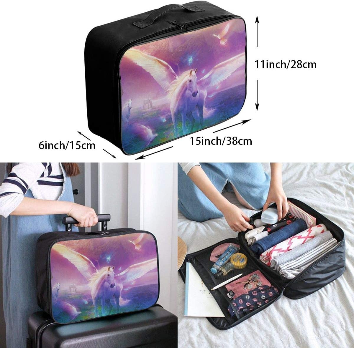 Magic Horse Travel Carry-on Luggage Weekender Bag Overnight Tote Flight Duffel In Trolley Handle