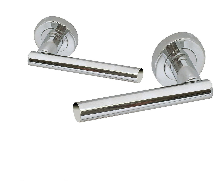 Straight T Bar Door Handle Chrome Stainless Steel Internal Latch- By Haven Door Handles