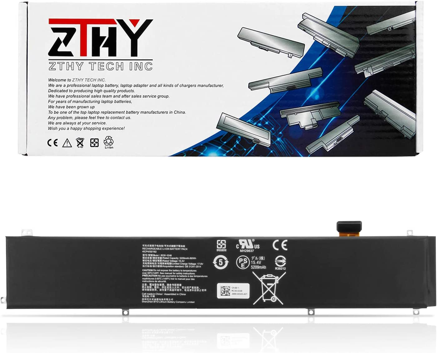 ZTHY 80Wh RC30-0248 Laptop Battery Replacement for Razer Blade 15 Advanced 2018 2019 RTX 2060 2070 2080 RZ09-02385 RZ09-02386 RZ09-02386E91-R3U1 RZ09-02385W71-R3W1 RZ09-02385E92-R3U1 RZ09-03135 15.4V