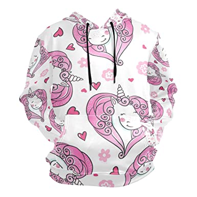 7d6752992 Image Unavailable. Image not available for. Color: Pink Unicorn Head Fleece Hooded  Sweatshirt Men's Pullover Wool ...