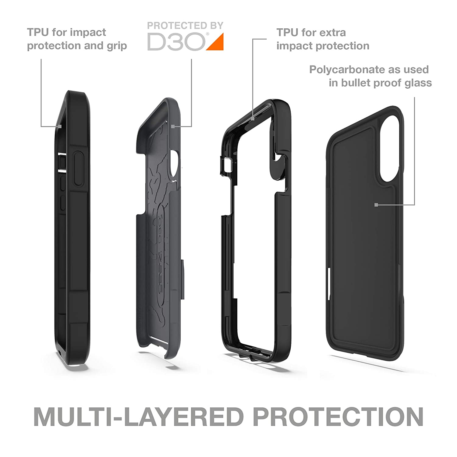 premium selection 362cc d2d8e Gear4 Platoon Case with Advanced Impact Protection [ Protected by D3O ],  Tough, Ultra-Durable Design for iPhone Xs Max - Black