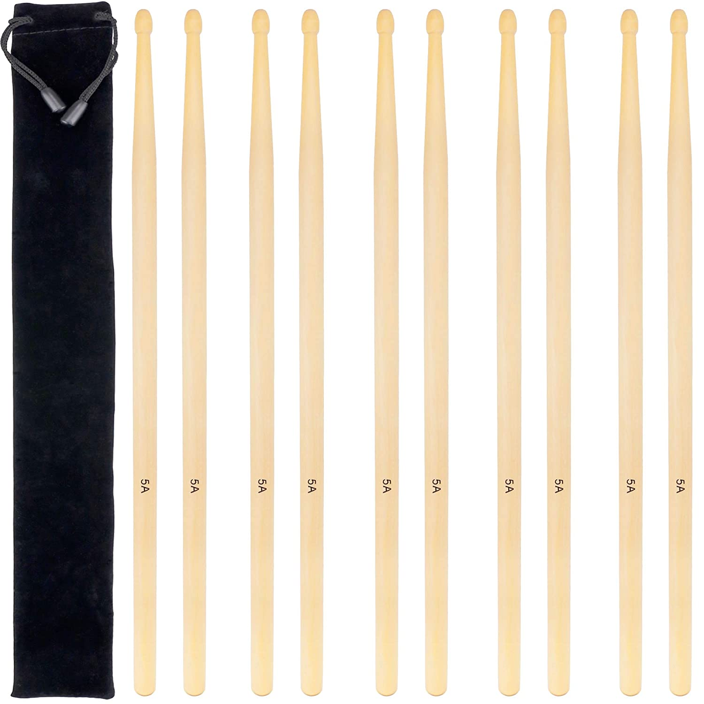 4 Pairs 5A Drum Sticks, Wood Tip Drumsticks(Maple) Augshy A133