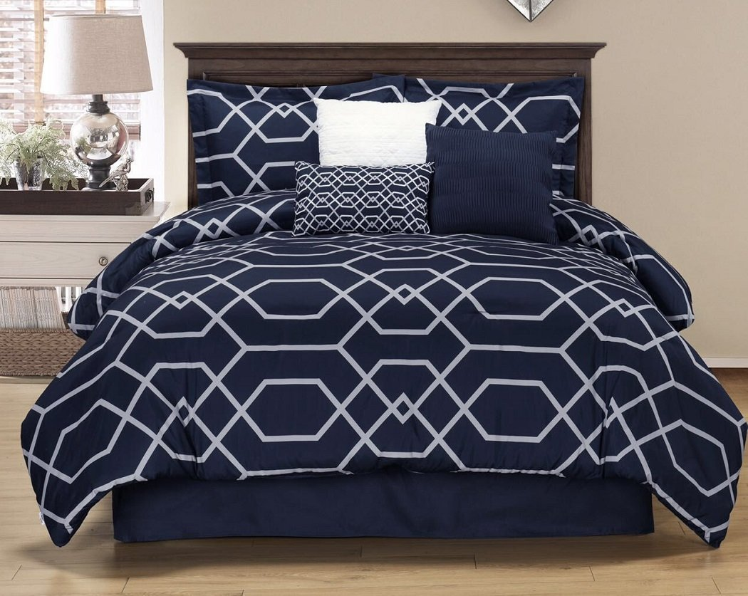 Chezmoi Collection Hampton 7-piece Geometric Hexagon Pattern Bedding Comforter Set (Queen, Navy)