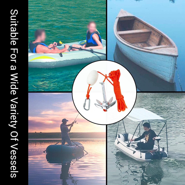 Rikey Ancla de Kayak con Cuerda Marina de 16.4 pies esqu/í acu/ático Gancho de Resorte para Kayaks de Pesca Kit de boya de Anclaje Plegable port/átil Tabla de Paddle Sup y Botes peque/ños