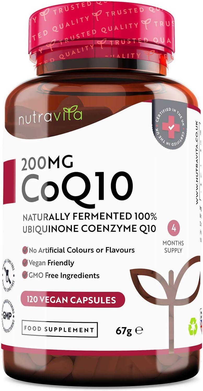 Coenzima Q10 200 mg - 100% Pura Fermentada Naturalmente - 120 Cápsulas Veganas de CoQ10 de Alta Potencia - Suministro para 4 Meses - Producto Elaborado en el Reino Unido por Nutravita