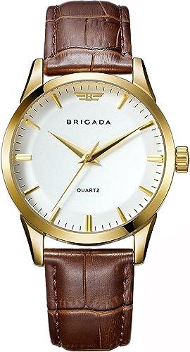 Brigada Reloj De Vestir Para Hombre De Marca Suiza Clásico Oro Para Hombres Con Calendario De Fecha De Negocios Casual De Cuarzo Impermeable Blanco Brigada Watches