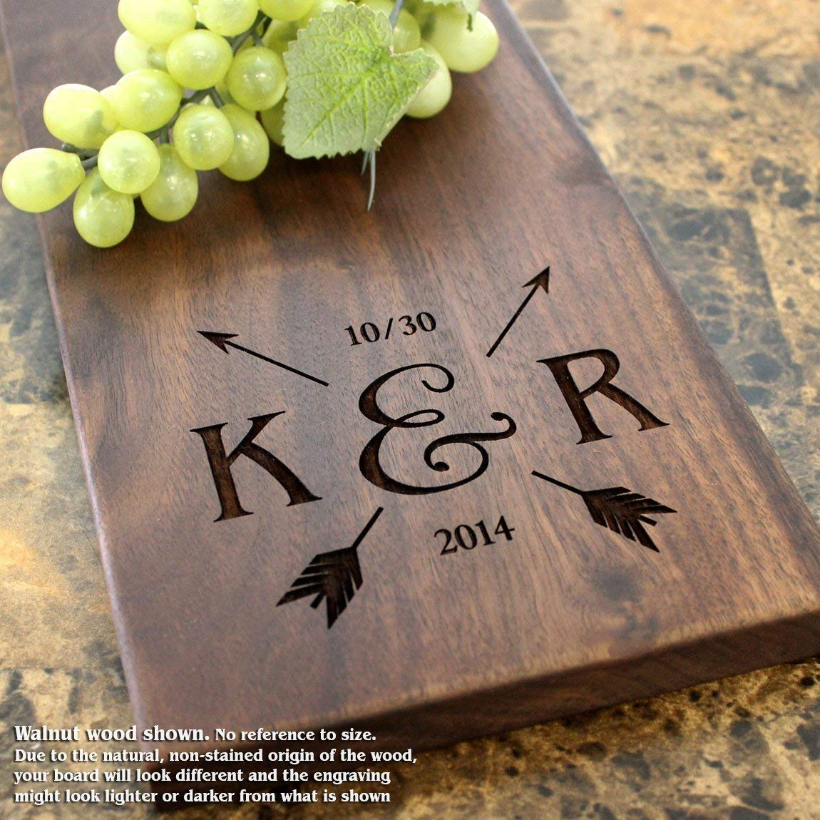 Arrow Wedding Personalized Cheese Board - Wedding Gift, Bridal Shower Gift, Anniversary, Engagement. #018