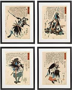 IDIOPIX Japanese Samurai Art Warriors Painting Wall Art Set of 4 Prints UNFRAMED No.1