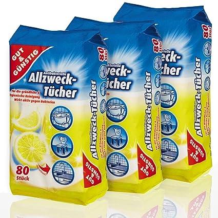 Dispensador de toallitas de limpieza antibacteriano 80 pcs - 3 Pack (contenido 3 x 80