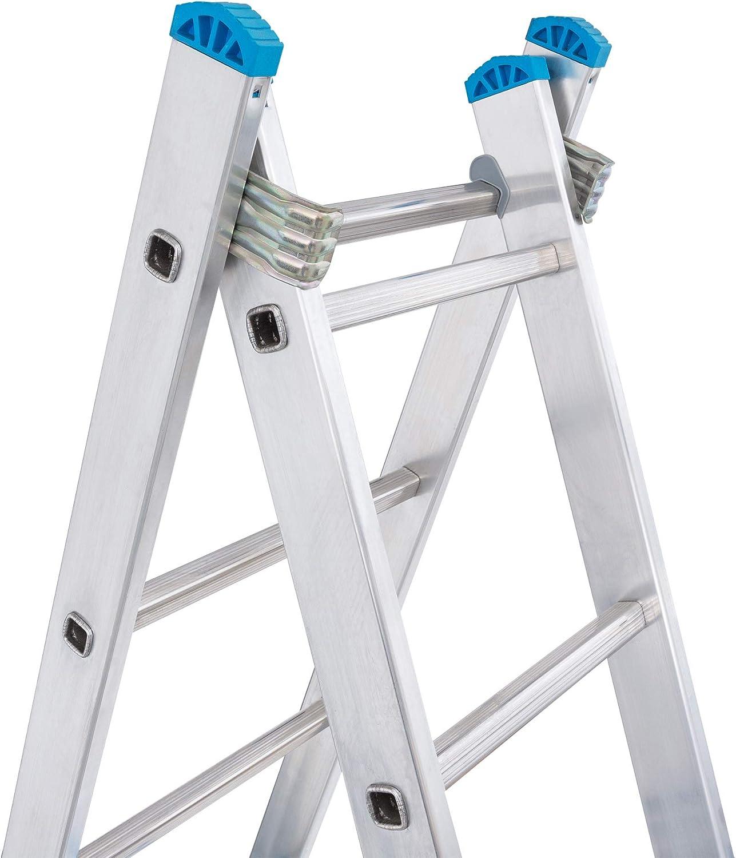 Escalera Transformable 2 Tramos 8+8 Pelda/ños Plegable Super Resistente hasta 150Kg de Acero y Aluminio con relieves Antideslizantes para Altura de Trabajo hasta 457cm Packer PRO