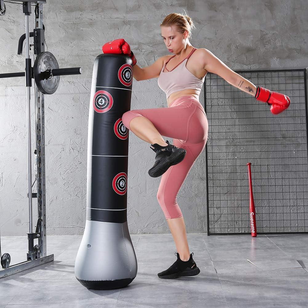 Domybest Sac de Frappe sur Pied Sac de Boxe Gonflable Punching Ball Adulte sur Pied Sac Lourd Exercice Fitness /Équipement de Musculation