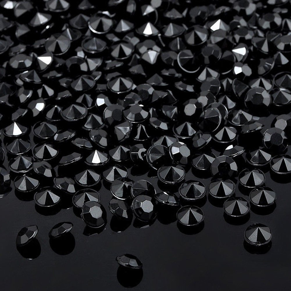 DAVEVY 1000PCS 4.5mm/0.18 inch Crystals Acrylic Diamonds Wedding Decoration for Table, Scattering Acrylic Gemstones Wedding Bridal Shower Party Decorations Vase Fillers(Black)