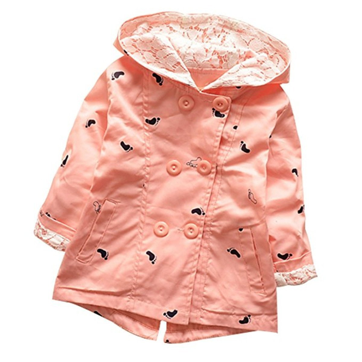 Baby Kid Little Girls Spring Autumn Fashion Shoes Print Hoodie Outwear Trench Coat Jacket