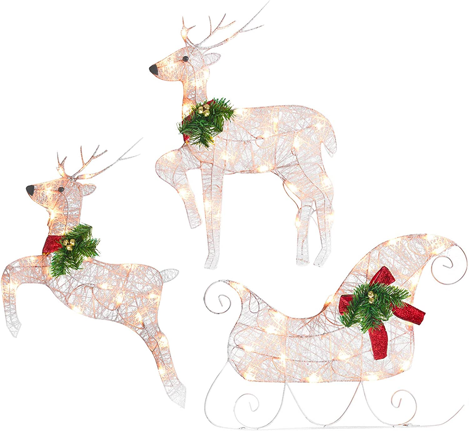 20 inch Pre Lit 20 Lights for Santa Sleigh and Reindeer Decor with ...