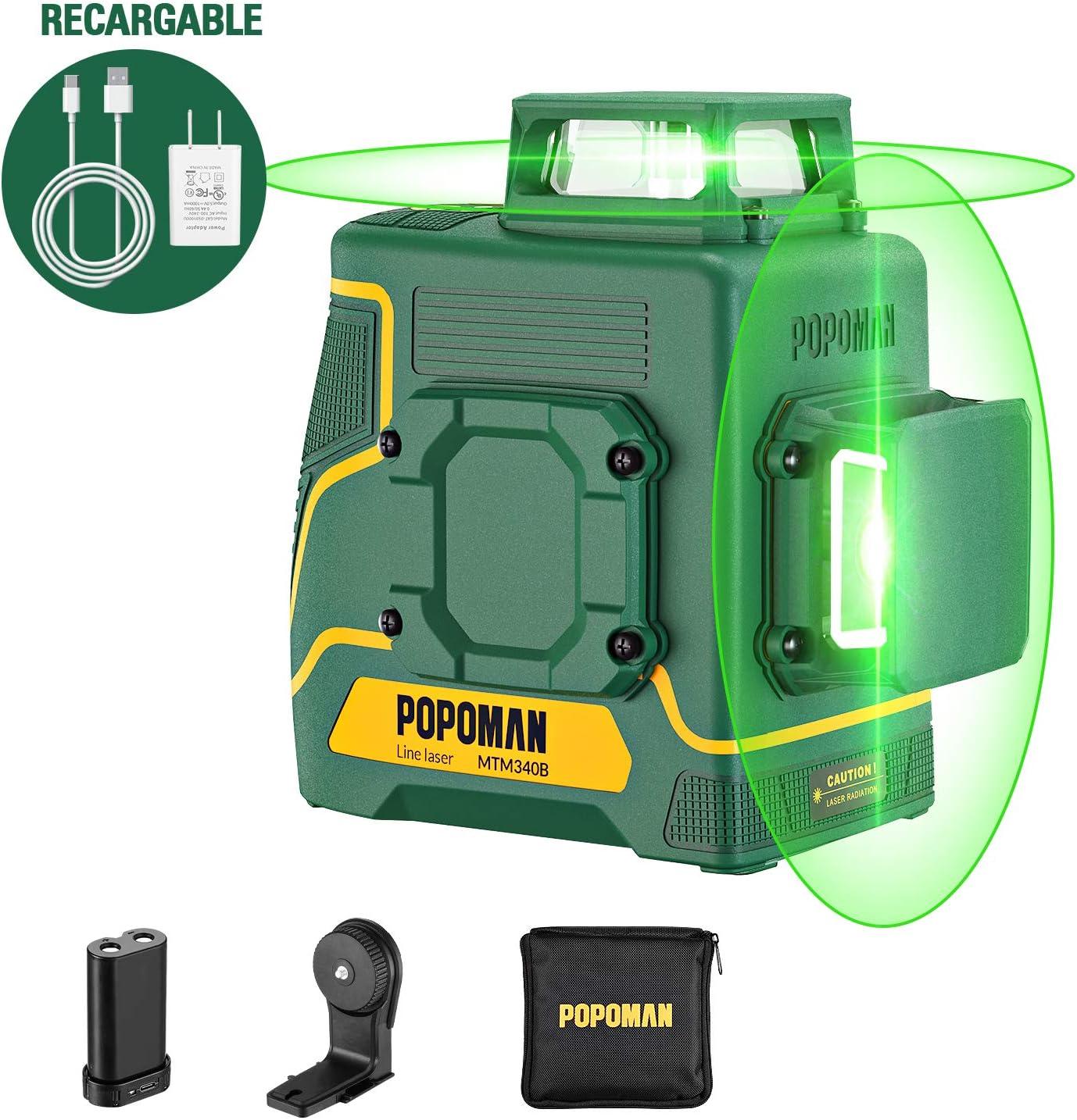 Nivel láser 45m verde POPOMAN, 2x360° líneas láser, Carga USB, Batería de litio, Autonivelante, Modo pulsado externo, Soporte Magnético, 360° Giro, IP54, Bolsa de transporte-MTM340B