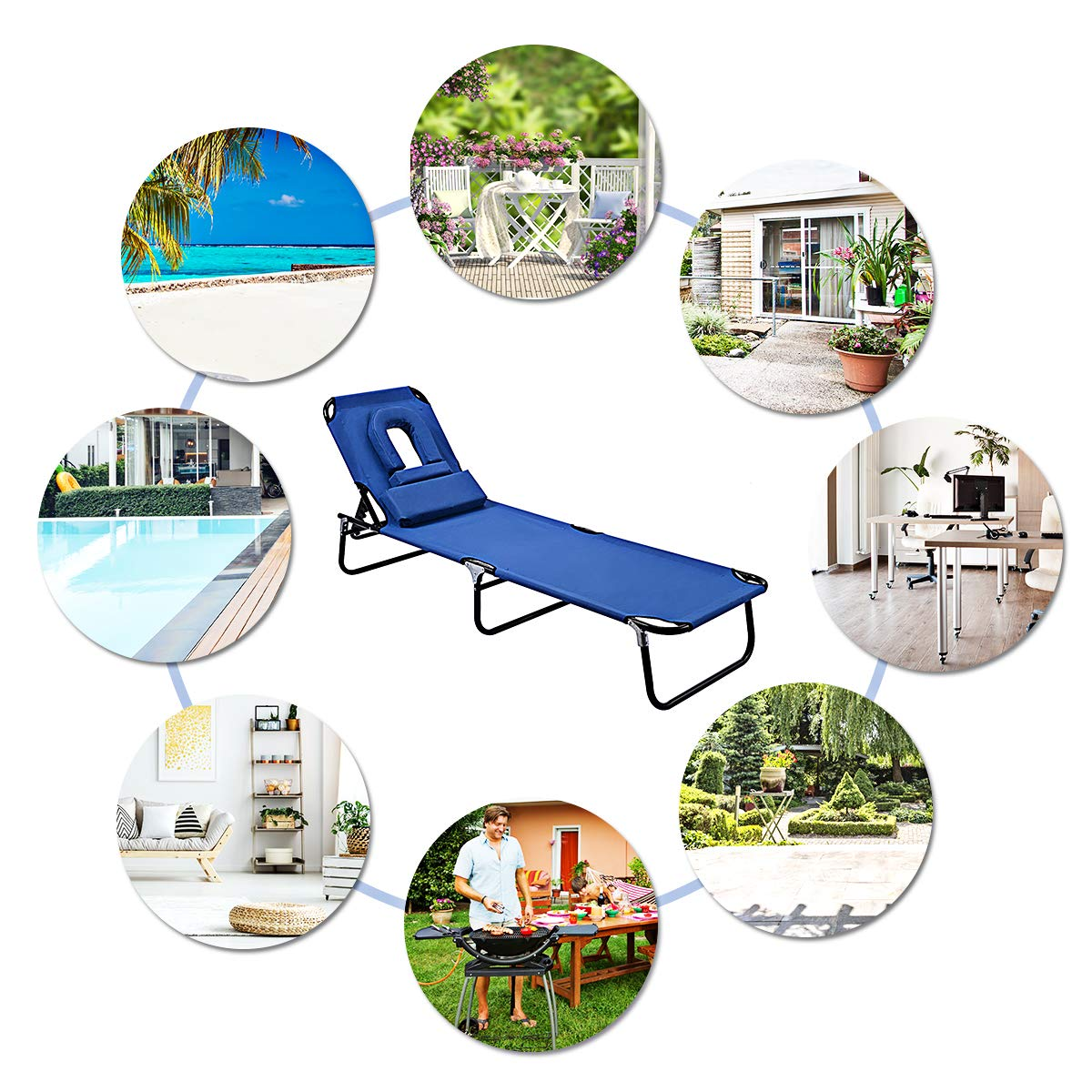 Adjustable Back Outdoor Beach Pool w//Tanning Face Sown Hole Blue 1 Piece Goplus Folding Chaise Lounge Chair