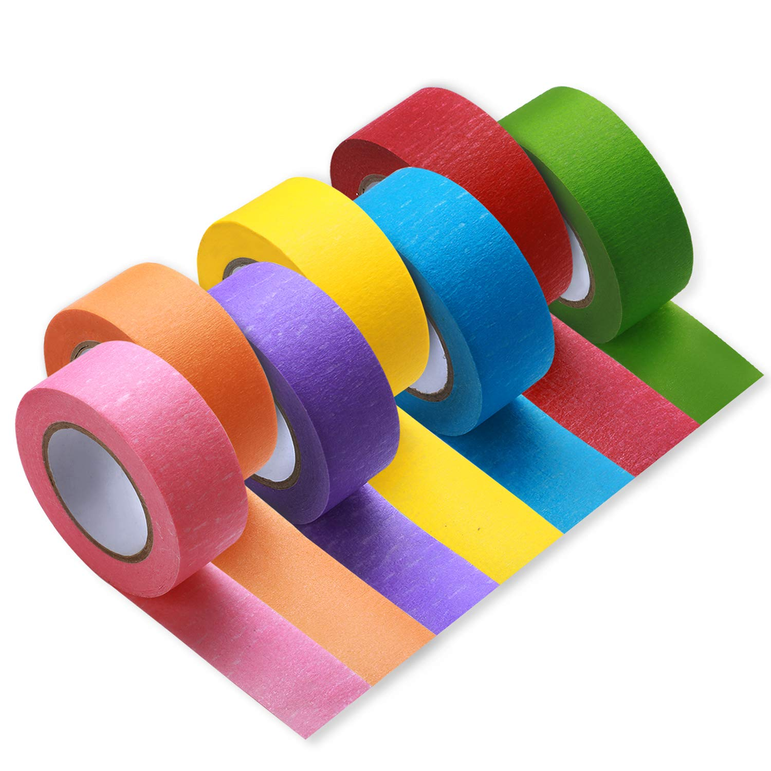 Colored Masking Painters Crafts 1 inch 7 Rolls Colorful Decorative Wide DIY Masking Tape Adhesive School Party Supplies Bright Colors Great for Arts & Craft Projects Fun for Kids & Adults