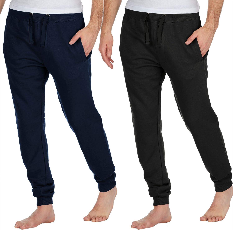 Pantalones de sal/ón para hombre Pijama Pjs Joggers estilo inferior polar algod/ón rico liso suave c/álido ropa de dormir S M L XL negro azul marino