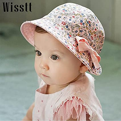 Buy Generic White   Wisstt Flower Print Cotton Baby Summer Hat with Bow  White Pink Kids Girl Summer Cap Double Sides can Wear for 4-36 Months  Online at Low ... f4bdfd20624