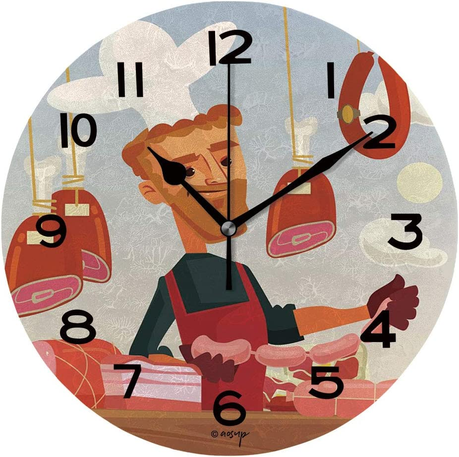 ALUONI 10 inch Round Clock Butcher Shop. Meat Seller Cook Man Character Unique Wall Clock-for Living Room, Bedroom or Kitchen Use IS062216