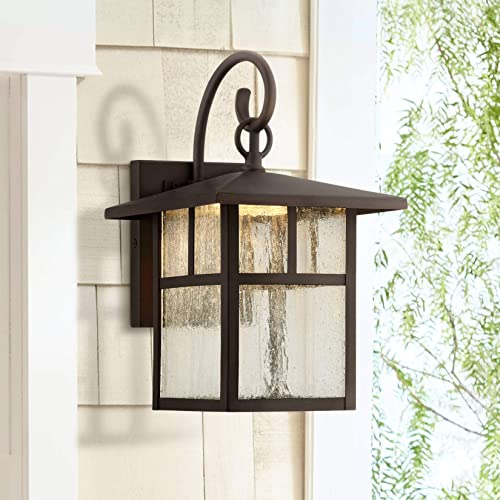 Glenfield Mission Outdoor Wall Light Fixture LED Bronze 12 Clear Seedy Glass for Exterior House Porch Patio Deck – John Timberland
