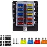TurnRaise 10-Fach Sicherungshalter ATO Sicherungskasten Doppeldeckel KFZ Auto