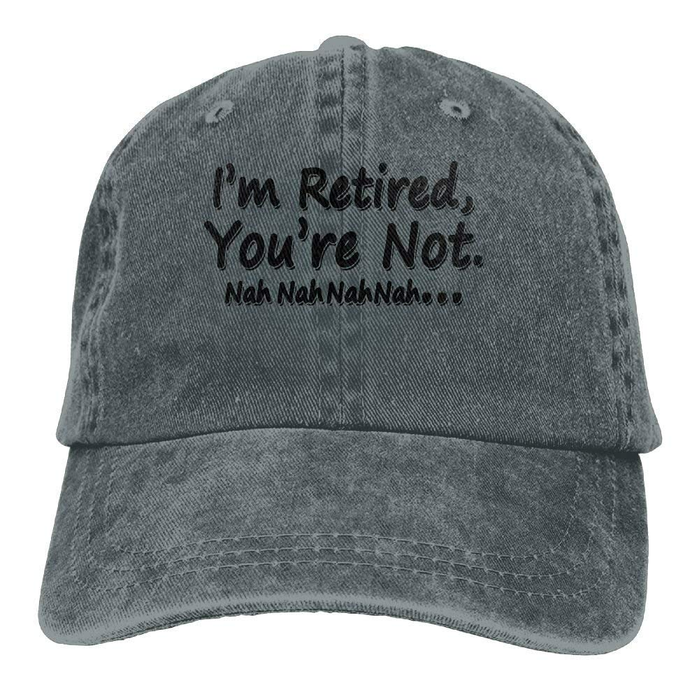 JTRVW I Am Retired You are Not Trend Printing Cowboy Hat Fashion Baseball Cap for Men and Women Black