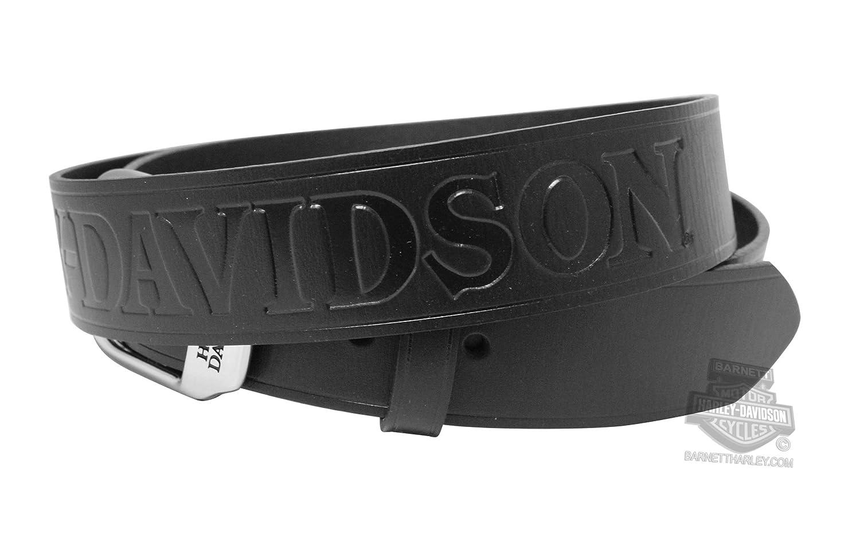 42 Harley-Davidson Mens Slide Over H-D Name Black Leather Belt