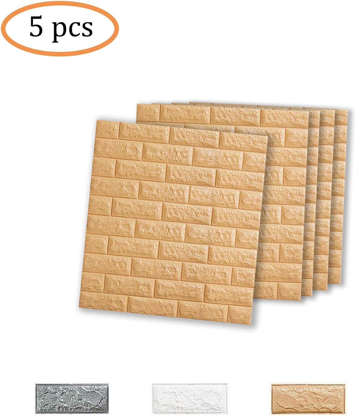 77 * 70CM VASEN Papier Peint 3D Brique Amovible D/écoradif Stickers Muraux Effet Pierre Autocollant Imperm/éable Auto-Adh/ésif pour Chambre Maison Cuisine 5ps, Gris