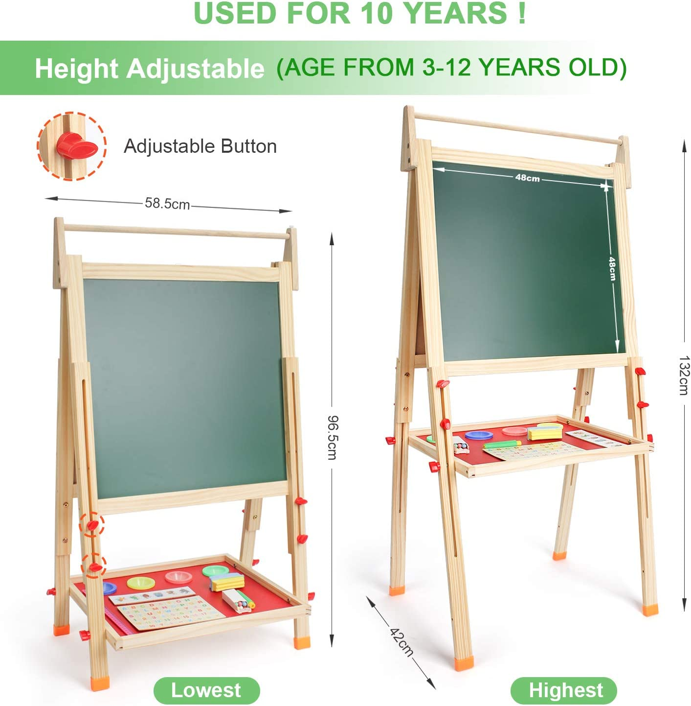 SALEM MASTER Art Easel For Kids Double-Sided Whiteboard & Chalkboard Adjustable Standing Easel, Toddlers Toys With Magnets Letters & Numbers-Beige