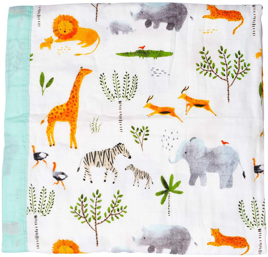 Muslin Stroller Blanket -''Jungle Print'' Bamboo Summer Blanket for Toddler - Oversized 47'' x 47'' - 2 Layers Muslin Baby Blanket for Baby Boy and Girl(Jungle) by LittleJump