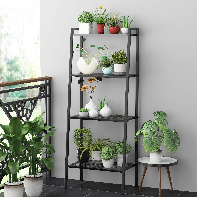 Étagère pour plantes et pots de fleurs en métal noir