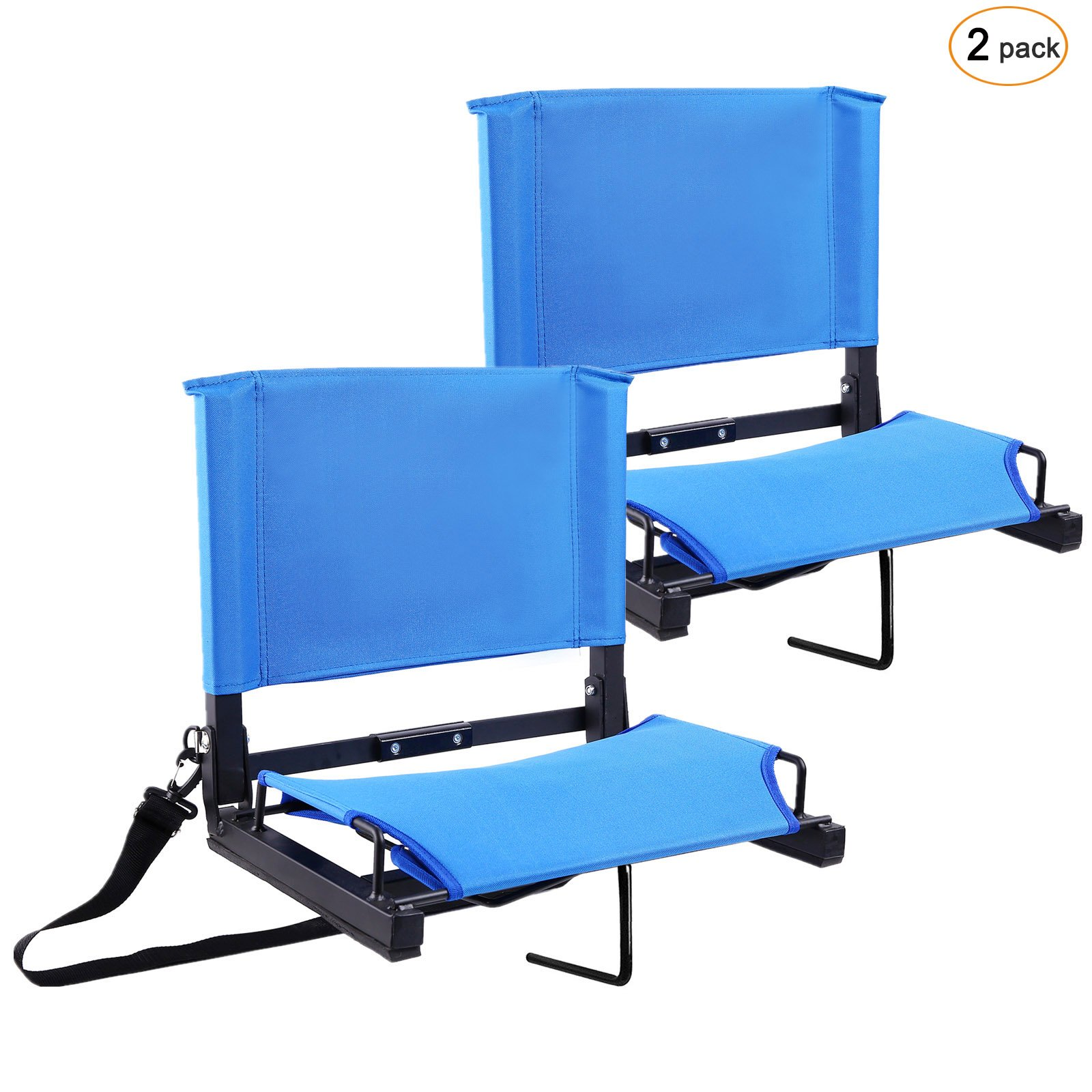 Ohuhu Stadium Chairs/Stadium Seats Bleacher Seats with Bungee Cord Cushion and Comfortable Backrest, Blue 2-Pack by Ohuhu