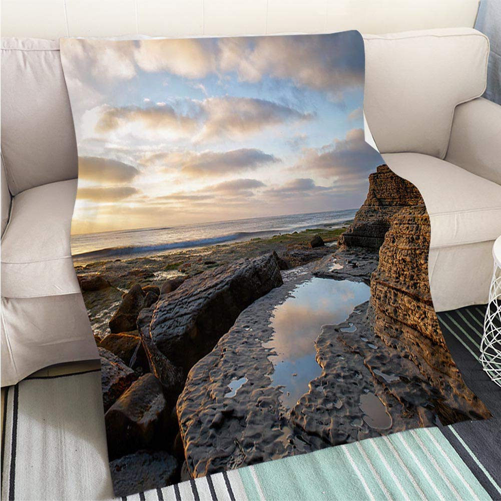 color14 47 x 80in BEICICI Art Design Photos Cool Quilt Sunset sea Waves Fun Design All-Season Blanket Bed or Couch