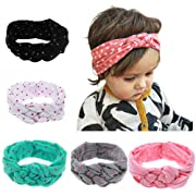 Iversan Newborn Baby Headwraps Turban Headband Knotted Hair Band(5 pcs)