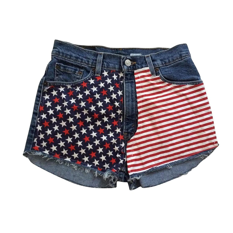 Women's Vintage American Flag Levi Cut Off Frayed High Waisted Denim Shorts