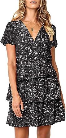 Transer Women Ruffle Polaka Dot Dress Crew Neck Loose Swing Casual Short Sleeve T-Shirt Mini Dresses