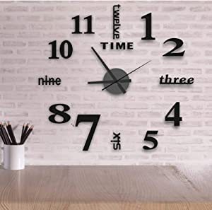 16 Inch DIY Wall Clock, 3D Frameless Wall Clocks Mirror Sticker Silent Non Ticking, Assemble Black Round Small Clock Kit for Living Room Bedroom Office Home and Kitchen Decor